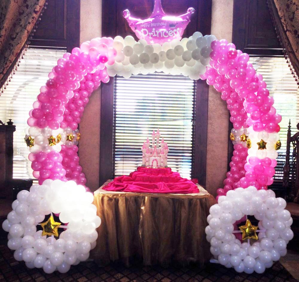Decoraci n princesas carruaje de globos decoraci n en - Adornos con globos para fiestas ...