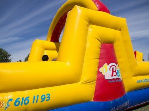 Inflable doble resbaladilla